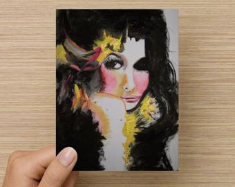 Birthday card / Blank inside / Original artwork card / Unique cool young artwork card / Gypsy artwork / Fashion artwork greeting card / Art