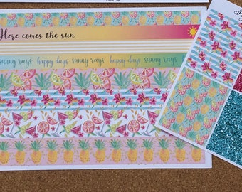 Hello Summer Glitter Headers and Extra Washi Strips Sheet