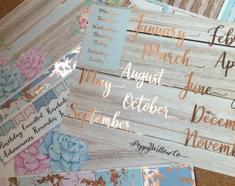 Rose Gold Foiled Succulents 12 Months Classic HAPPY PLANNER MONTHLY Spread Decorative Sticker Set | January to December
