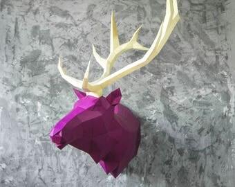 Paper elk, Lowpoly elk, Geometric elk, Polygonal elk, Trophy head elk, Template head elk, Papercraft, DIY paper head 3d pazzle FREE SHIPPING