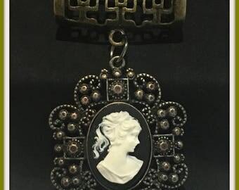 Antique Bronze Cameo Scarf Jewelry