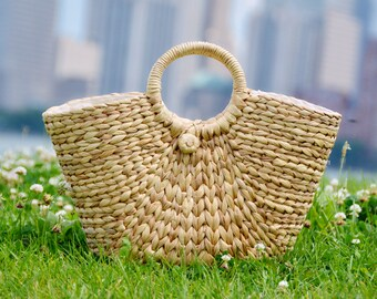 Woven natural straw basket | Straw bag | Summer tote | Weaving seagrass bag | Beach bag | French market bag | Straw tote | Boho handmade bag