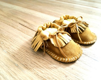Leather Fringe Baby Toddler Moccasins