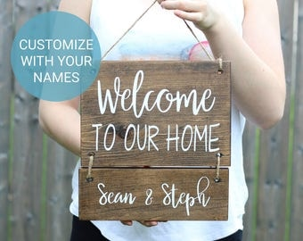 Personalized Welcome Sign - Welcome to our Home Sign - Family Name Signs - Personalized Last Name Signs - Personalized Home Signs