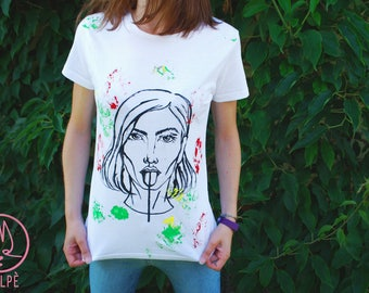 Hand painted t-shirt Handmade White shirt Lithuanian flag Lithuania Portrait Handpainted Shirt Short sleeves Tongue out Women portait