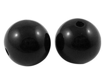 10 16mm black acrylic beads