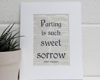 Shakespeare Book Quote Print, Romeo and Juliet, Literary Decor, Romantic Valentine Print, Book Lover Gift, Literary Print, Unicorn Quote