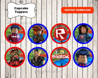 Roblox toppers labels instant download , Roblox cupcakes toppers labels, Roblox cupcake toppers