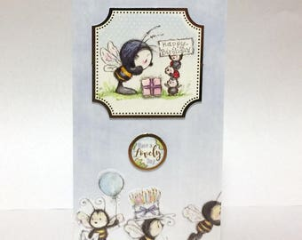 Female Birthday Card - Bumble Bee with cake & presents - luxury personalised unique quality special UK - Mum/Daughter/Aunt/Sister/Niece/Wife