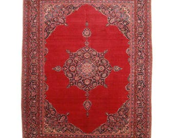 RugsinDallas Persian Kashan Wool Rug - 10′7″ × 13′8″ Red, Black, Tan # 1194
