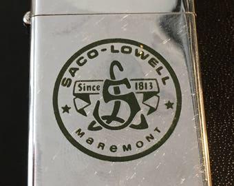 Saco-Lowell Textile Machinery Zippo Slim Advertising Lighter - 1972 Used