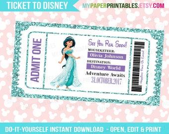 Jasmine Disney Princess Printable Ticket To Disney DIY Personalize INSTANT DOWNLOAD Disney World Disneyland Surprise Pass Disney Princess