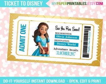 Isabel of Avalon Princess Printable Ticket To Disney DIY Personalize INSTANT DOWNLOAD Disney World Disneyland Surprise Disney Frozen