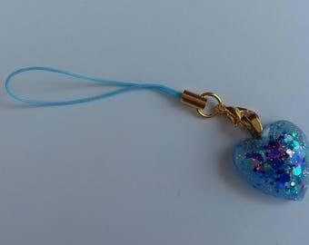 Blue glitter resin heart phone charm, bag charm, zipper charm, planner charm