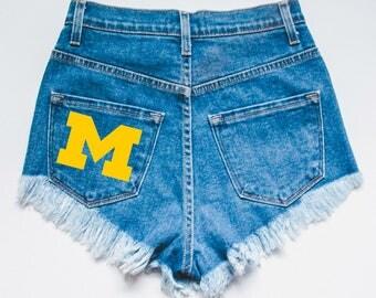 University of Michigan Tailgate Shorts -  College University Sports Tailgate Flannel Shorts Denim Shorts - Jean Shorts - High rise shorts