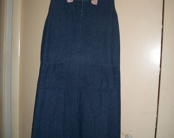 Vintage Denim Maxi Jumper Dress with Kitty, Flower Appliques Size 18