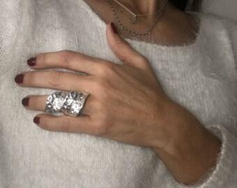 Vulcan Silver leaf-shaped ring