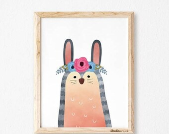 Bunny Print Nursery, Bunny Girl, Bunny Art, Rabbit Print, Bunny Decor, Bunny Nursery Wall Art, Bunny Illustration, StudioM, bunny, rabbit