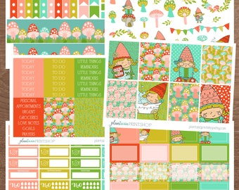 Gnaomi the Gnome Weekly Kit, 6 to 8 pages, Sidebar, for use with Erin Condren Lifeplanner, Happy Planner, Full Box, Headers, Toadstools