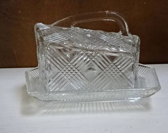 Heavy Cut Glass Cheese Dish/Butter Dish/Vintage