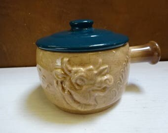 Very Rare Sylvac Beef Dripping Face Pot with Lid/Collectable/Vintage/1980s