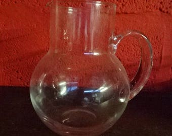 Vintage Bulbous Form Glass Jug/Pitcher with Applied Handle/Pitcher/Jug/Vintage Pitcher/Vintage Glass Jug/Drinkware/Milk Jug/Vintage