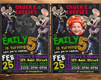 Chuck E Cheese Invitation, Chuck E Cheese Birthday Invitation, Chuck E Cheese Invitation With Photo, Chuck E Cheese Invite, Chuck E Cheese