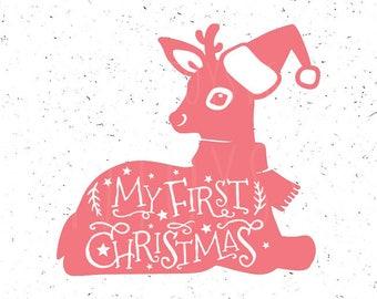 My first Christmas SVG Baby Christmas Svg Baby First Christmas SVG file Reindeer svg file My first Christmas SVG file Silhouette svg