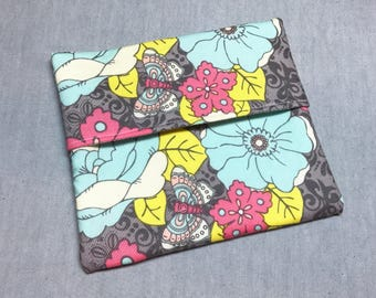 Cloth Pad Wrapper - Mini Wet Bag - Large PUL Pad Wrapper - Turquoise Floral Butterfly Pad Wrapper