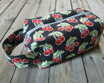 Medium Sized Project Box Bag for Knitting or Crochet; Toiletry or Makeup Bag - Cherry Picking