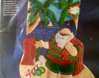 """Vintage retired NEW sealed Bucilla Tropical Santa Christmas stocking kit 18"""" from 1998  # 83975 shipping 4.89"""