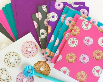 Donut Snail Mail Kit | Greeting Cards with Coordinating Envelopes and Sticker Seals / Doughnut Dessert Cards