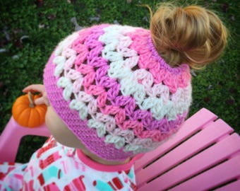 COLOR COLLECTIONS - crocheted messy bun hat, sizes: toddler, child, teen/adult