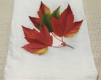 Fall leaves flour sack towel