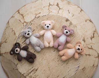 NEW COLORS Felted teddy bear  stuffy; newborn photography prop; made to order