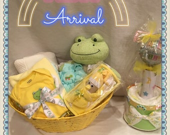 A Sweet Neutral Baby Gift Basket With Bonus Mini Cake, Newborn Baby Gift  Basket,