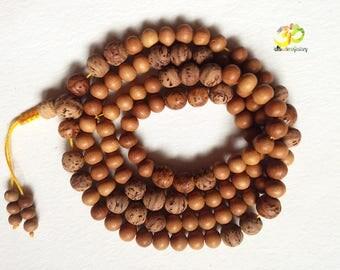 Sandalwood and Bodhiseed 108 Mala, White Sandalwood and Bodhi seeds Buddhist 108 Mala for Mantra and Meditation, Yoga Prayer Beads