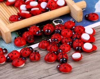 100pcs Wooden Ladybug with Adhesive Back,Wooden Ladybird,Wooden Ladybug Sticker