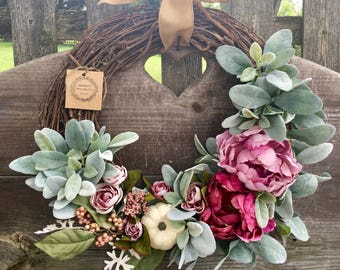 Fall wreath autumn wreath pumpkin wreath front door wreath peony wreath door wreath housewarming gifts Mother's Day gifts