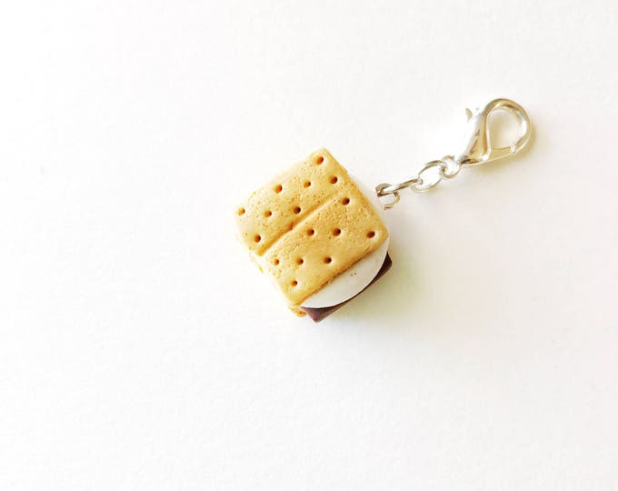 S'mores Charm, Miniature Food Jewelry, Handmade Polymer Clay Charm, Progress Keeper, Bracelet Charm, Zipper Pull