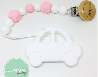 Silicone Car Teether - chew toy - sensory toy - toddlers - pacifier clip - soother - silicone beads - car - newborn gift - personalized