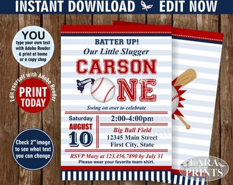 INSTANT DOWNLOAD / Birthday Invitation /  First / Baseball / One / Sports / Invite / All star / 1st / invitations Ball red blue invites DSP3