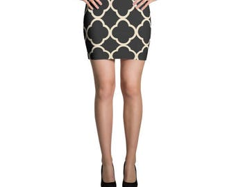 Geometric Mini Skirt, Black and white mini skirt