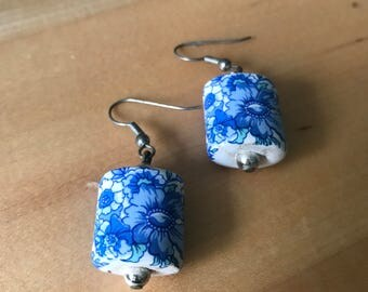 Paisley Floral Ceramic Earrings