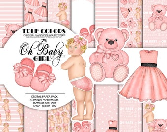 Pink Dreams Baby Girl Paper Pack Fashion Illustration Planner Sticker Supplies Seamless Pink Teddy Bear Baby Shoes Princess Dress Ribbon