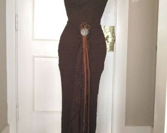 Celtic Empress Two Piece Lotus Gown Textured Organic Cotton Blend Halter T-Back Top + Floor Length Lotus Maxi Skirt