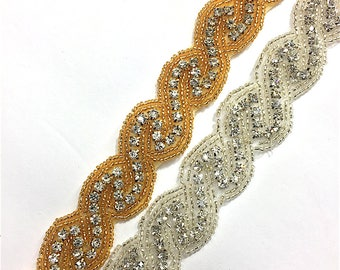 "1""  Crystal Beaded Rhinestone Trim Gold-Silver #GY6358"
