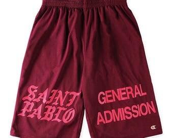 Saint Pablo GENERAL ADMISSION Kanye West Champion Shorts