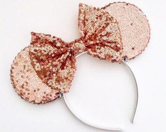 The Full Sequin (Rose Gold) - Handmade Sequin Mouse Ears Headband