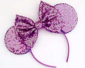 The Full Sequin (Lilac) - Handmade Sequin Mouse Ears Headband